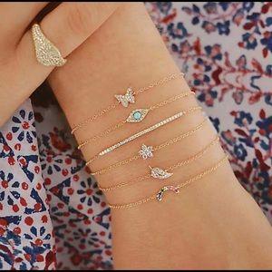 Gold eye charm dainty chain bracelet 6pc set new